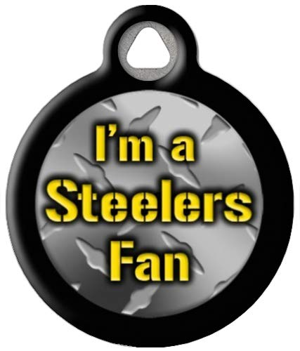 Dog Tag Art Steelers Fan - Custom Pet ID Tag for Dogs and Cats Large Size