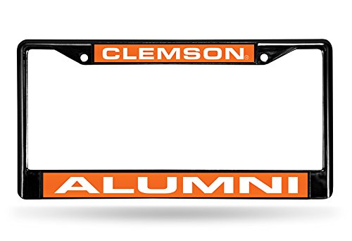NCAA Rico Industries Laser Cut Inlaid Standard Chrome License Plate Frame, Clemson Tigers - Alumni