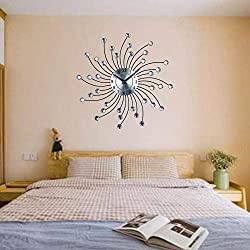 Wall Clock, European and American Style Creative Fashion Crystal Beads Sunburst Metal Wall Clock Ultra-Quiet Movement No Ticking Rotating Decorative for Home Celebration (Silver)