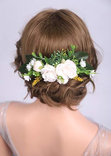DeniferyMakeup Blumen-Haarkamm mit Blumenmuster, cremefarben, Rosa, Feenhaar, Brautschmuck, Modeaccessoires, Scheune, Hochzeit, Waldhaarkamm
