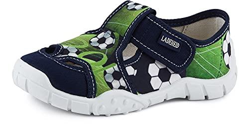 Ladeheid Jungen Hausschuhe mit Klettverschluss und Einlegesohlen LAVI0006 (Grün/Ball, 29 EU)