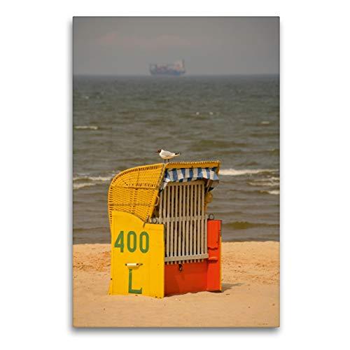 Premium Textil-Leinwand 60 x 90 cm Hoch-Format Strandkorb mit Möwe | Wandbild, HD-Bild auf Keilrahmen, Fertigbild auf hochwertigem Vlies, Leinwanddruck von Martina Berg