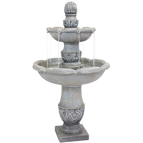 Sunnydaze 2-Tier Outdoor Water Fountain - French Garden Design - Glass Fiber Reinforced Concrete Construction - Dusty Gray - 50-Inch Tall - Loud Water Feature for Patio, Garden, or Yard