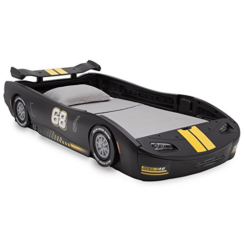 Black Children Turbo Race Car Twin Bed,