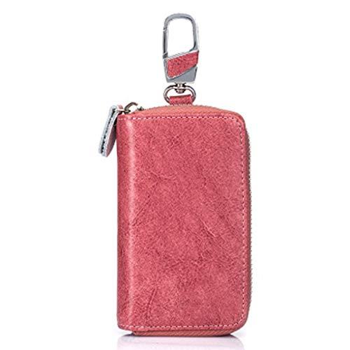 Echt lederen koffer voor autosleutels, slimme sleutelhanger muntpak, metalen haak rits tas met afstandsbediening, sleutelhanger