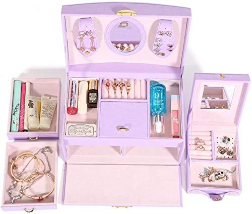 Jewelry Box for Women, Caja de joyería portátil de cuero Gran capacidad con caja de almacenamiento de joyas de espejo caja de regalo para mujeres (luz púrpura) Trinket de tesoro multiusos organizador