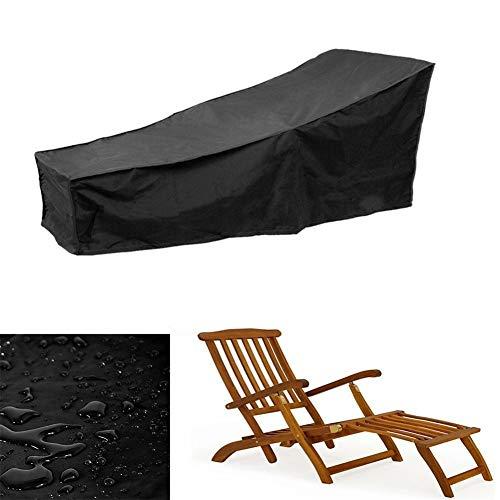 WWWANG Garten Sunbed Cover, Wasserdicht Atmungs Oxford-Gewebe Außen Sun Lounger Cover - Schwarz - 208.3x76.2x78.7cm (Size : CADYEDAF)