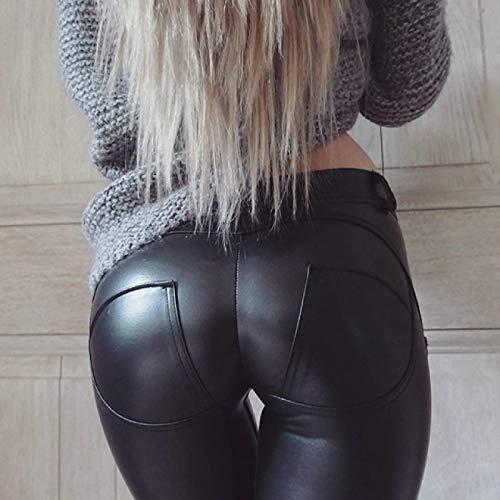 Leggings más Cachemir Pantalones De Cuero De Imitación para Mujer Leggings De Cuero PU De Cintura Alta Grueso/Negro/Push Up/Leggings Mujer Tallas Grandes Legging De