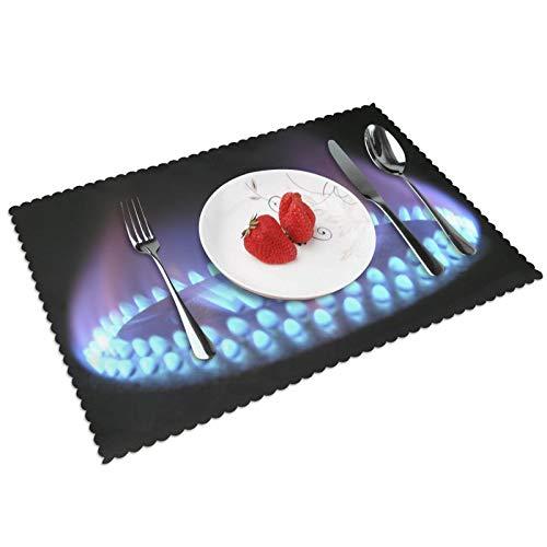 Durable Juego de 4 manteles individuales lavables de 30 x 45 cm, antideslizantes, resistentes al calor, para cocina, comedor, fiesta, decoración del hogar, gas llama, gas