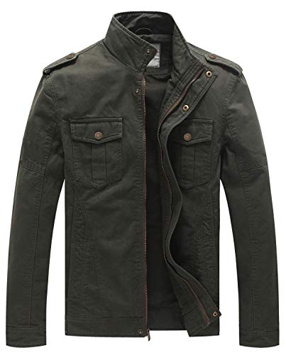 WenVen Men's Military Casual Cotton Jacket Outwear (Army Green, Large)