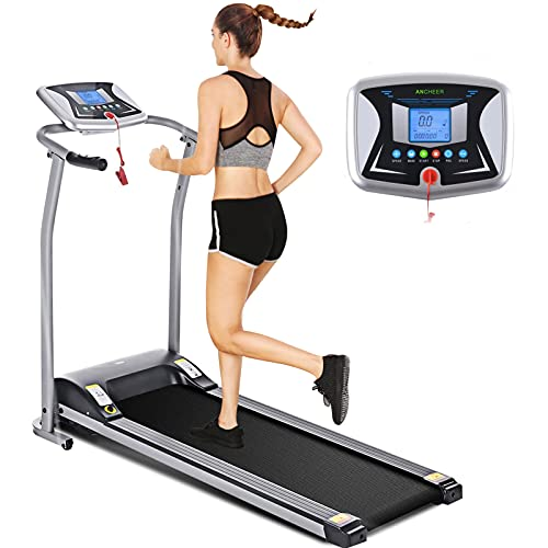 ANCHEER Treadmills, Folding Treadmill for Home, Running Machine with LCD Monitor, Electric Treadmills Pulse Grip and Safe Key, Jogging Walking Exercise Fitness Machine for Family & Office Use (Gray)