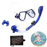 Kit de Snorkeling,Máscara de Snorkel para Niños,Gafas y Tubo de Snorkel Set,Set de Buceo para Niño,con Campo de Visión Panorámico de 180°,para Mujeres Y Hombres. (Azul)