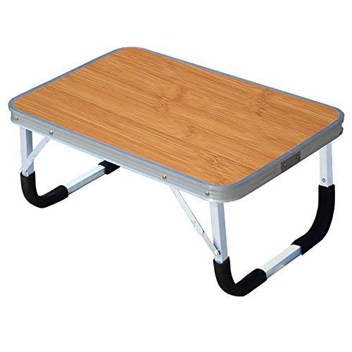XMZFQ Laptop-Tisch, faltbar Frühstück Serving Bett-Behälter, tragbare Mini-Picknick-Tisch Notebookhalterung liest Halter für Couch Boden,Braun