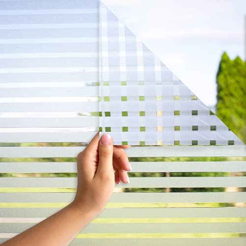 MARAPON® Fensterfolie mit Streifenmuster [90x200 cm] inkl. eBook mit Profitipps - Sichtschutzfolie Fenster mit statischer Haftung - Milchglasfolie - Fensterbilder selbsthaftend Blickdicht