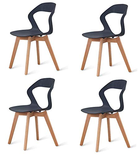 N/A conjunto de cuatro sillas modernas de plástico de estilo nórdico en una variedad de colores para uso en salas de estar, comedores, oficinas, salas de reuniones y comedores (negro)