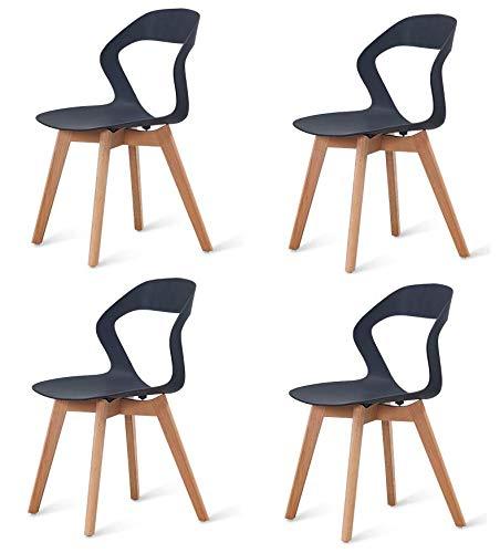 Set di 4 sedie ergonomiche vuote con gambe in legno e schienale in ABS, semplici ed eleganti, stile nordico, per casa, ufficio e attività all'aria aperta, colore: nero