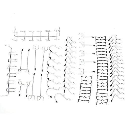 80Pcs Pegboard Hooks Assortment Peg Hook Organization Shelving Set Pegboard Hooks Accessories with Rubber Caps Apply to 1/8 inch Peg Hook Organization for Storage Shop Garage Organizing Tools Hanger