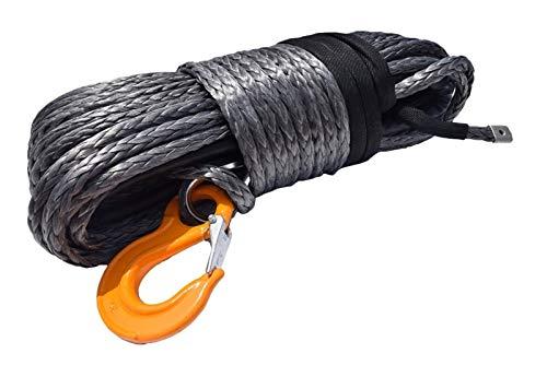 Dhmm123 Cuerdas de Remolque Cuerda de cabrestante sintético Gris 12mm * 45M, Cable de cabrestante de Plasma, extensión de Cuerda de cabrestante