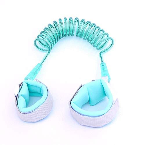 XBR Lien de Poignet pour Tout-Petit Bracelet de sécurité Anti-Perte, Ceinture de dragonne pour Enfants, Bracelet en Coton Double, câble métallique en Acier Inoxydable intégré, Cyan, 1,