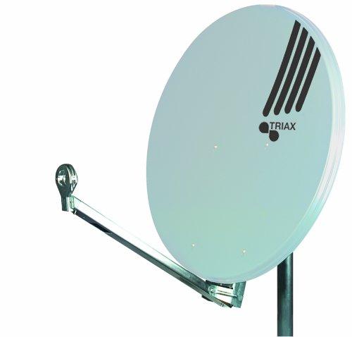 Triax HIT FESAT 85 Satellitenantenne (85 cm Durchmesser Aluminium, 40mm Feedaufnahme Kabelführung vormontiert) lichtgrau