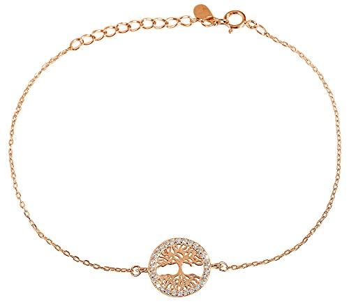 Pulsera para mujer de plata 925 con árbol de la vida con circonitas transparentes 925/rodiada, color plata oro rosa