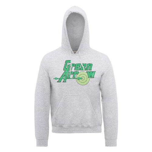 DC Comic DC0000116 Official Green Arrow Logo Sweat-Shirt à Capuche, Gris, (Taille Fabricant: Medium) Homme