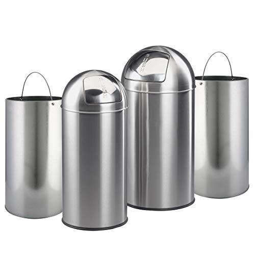 Ribelli vuilnisemmer-set, prullenbak met hygiënische push-klep, vuilnisbak van roestvrij staal/zink, ca. 38 liter en circa 28 L, zilver