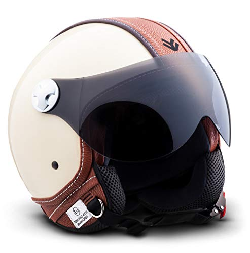 "ARMOR HELMETS® AV-84 ""Vintage Deluxe Creme"" · Jet-Helm · Motorrad-Helm Roller-Helm Scooter-Helm Moped Mofa-Helm Chopper Retro Vespa Vintage · ECE 22.05 Visier Schnellverschluss Tasche L (59-60cm)"