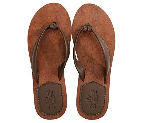 AXBOXING Chanclas Mujer Flip Flop PU Cuero Simple Elegante Sommer Sandalias Verano Suave Ligeras Playa Vacaciones Antideslizantes Tamaño 36-41 (MARRÓN, Numeric_36)