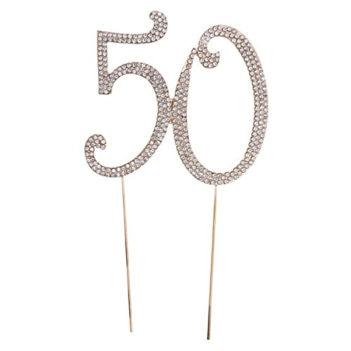 STOBOK Kuchen Topper Strass 50 Zahl Kuchendeckel Kuchendekoration für 50. Jahrestag Geburtstag Goldene Hochzeit Party Zubehör (Golden)