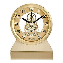 Bulova Golden Eye Tabletop Clock, Brass