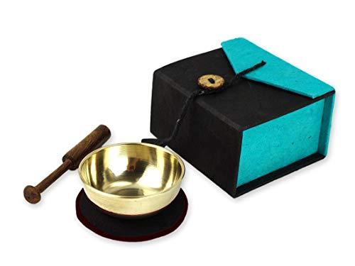 Miniklangschale in Geschenkbox, inkl. schwarzer Unterlage sowie einem Holzklöppel (türkis)