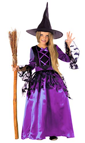 Magicoo Strega Pipistrello - Costume Strega Bambina Viola/Nero con Cappello da Strega- Costume Chic Halloween Travestimento Bambina (134/140)