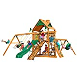 Gorilla Playsets 01-0004-AP Frontier Wood Swing Set with Wood Roof, Tire Swing, Two Belt Swings, Picnic Table, Sandbox, Rock Climbing Wall, Amber