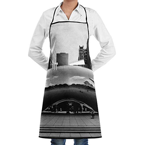 VAICR Grembiule Cucina Chef,Millennium Park Adjustable Half Body Pocket Apron Bib Apron for Unisex Chef's Gifts Kitchen Decor Kitchen Bib Apron,Extra Long Ties Women Men BBQ Baking Cooking