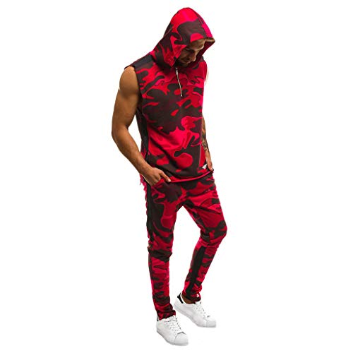 UINGKID Herren Jogginganzug Trainingsanzug Overall Jumpsuit Shirt Hose Fitness Männer Set Jogger Camo Slim Fit Hoodies