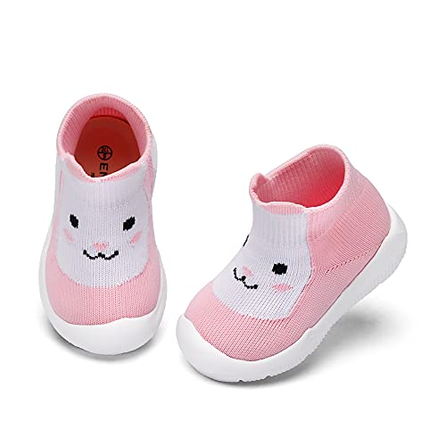 Baby Boy Girls Animal Non-Skid Indoor Slipper Infants Breathable Elastic Socks Shoes with Memory Insole Protect Toes Panda Tiger Fox Bear Rabbit