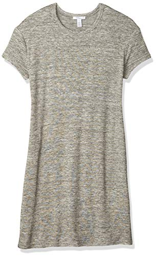 Amazon Brand - Daily Ritual Women's Supersoft Terry Short-Sleeve Open Crew Neck Dress, Heather Grey Spacedye,Large