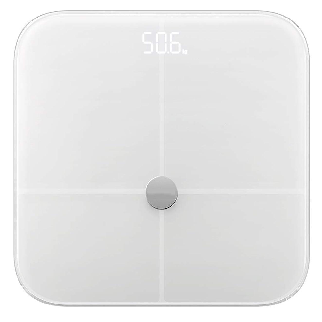 契約したずんぐりした潮HJBH強化ガラス電子スケールMTB-303インテリジェント体脂肪スケール正確な家庭用人体11身体データ検出健康状態 - 超薄型(白)