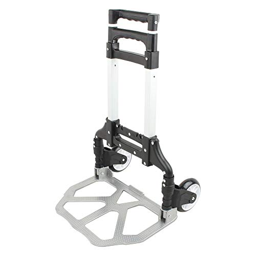 gongxi Luggage Trolley, Foldable Trolley, Luggage Trolley with Extendable Handle with 2 Wheels, Maximum Load 80Kg, Folding Luggage Trolley for Luggage, Personal, Travel, Car