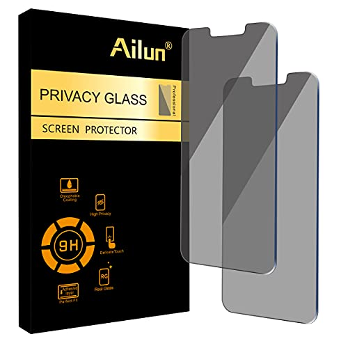 Ailun Privacy Screen Protector Compatible for iPhone 13 Pro Max 2021 [6.7 inch Display] 2 Pack Anti Spy Case Friendly Tempered Glass [black]