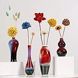 Jarrones Florero Vintage tradicional florero de cerámica Conjunto De Cuatro + secada florece, estilo chino en flores amarillas Sala de estar Decoración Decoración del esmalte del pórtico Modern Florer