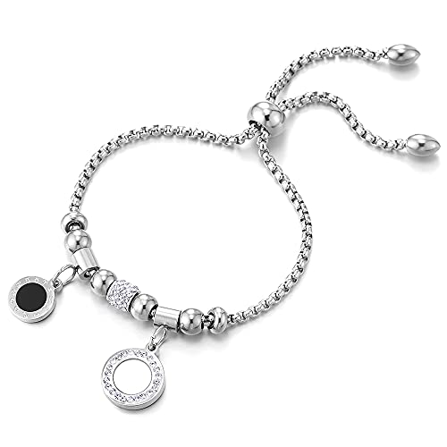COOLSTEELANDBEYOND Pulsera de eslabones de acero inoxidable con circonita, esmalte negro, nácar, signo del zodiaco del zodiaco