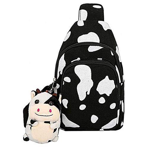 Bolsa tiracolo YU-NIYUT com estampa de vaca, linda bolsa transversal de lona com pingentes de urso pendurados, adorável bolsa tiracolo para mulheres e meninas