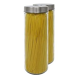 Apollo Vidrio Esmerilado espaguetis tarro de almacenamiento lata de conserva con Tapa de Acero Inoxidable Hermético