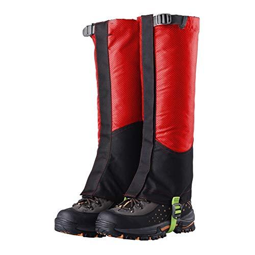 GFYWZ Outdoor Snowproof imperméable à l'eau Chaussures guêtres guêtres jambières Haut de la Jambe pour la randonnée pédestre Escalade de la Chasse,Red
