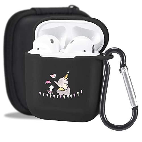 MAYCARI Süße Elefanten-Hülle schwarz mit Schlüsselanhänger für Airpods 2 und 1, Cartoon-Tiermuster, voller Schutz, stoßfest, weiche TPU-Hülle für Apple Airpods 2 und 1