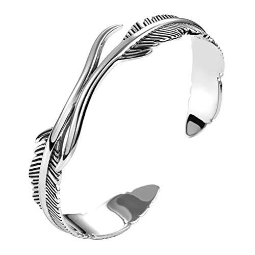 Unisex Armreif Schmuck Feder Armband Armspange Stulpearmband Silber überzogene Feder offene Manschette Armreif Retro Armreif Für Damen Herren