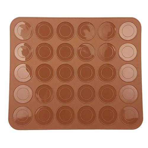 EROSPA® Makronen Macaron Backmatte - Silikon - 30 Mulden - Makronenform - Braun - 22 x 26 cm