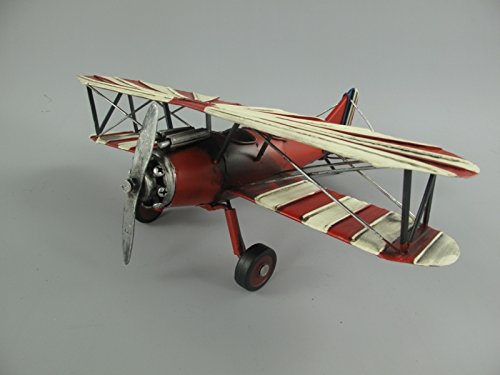 TD Flugzeug Modell Doppeldecker rot weiß 26x32x11cm Nostalgie Deko Blechfigur
